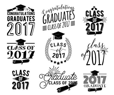 school class: Graduation wishes overlays labels set. Monochrome graduate class of 2017 badges