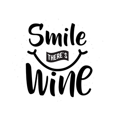 Vector illustration of drink related typographic quote. Wine old logo design 矢量图像