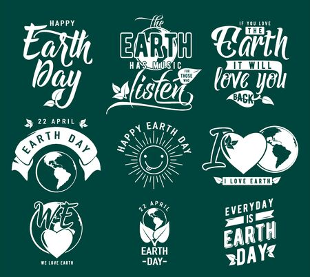 globe logo: Vector illustration of happy Earth day element set with earth globe, leaves