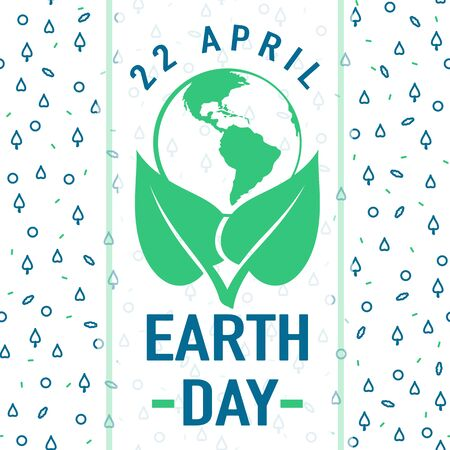 globe logo: Vector illustration of Earth day greeting text card on seamless pattern