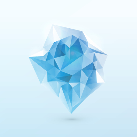 Vector illustration of blue shine triangle iceberg