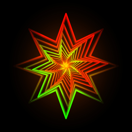 fluorescence: Vector illustration of abstract triangle neon star background Illustration