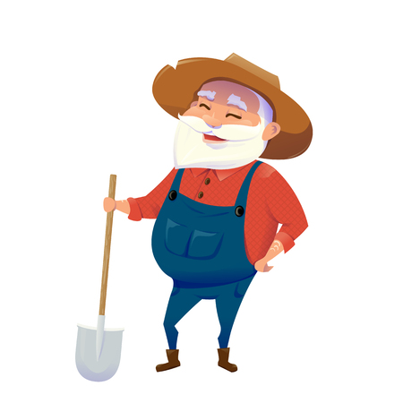Vector illustration of old hipster smile farmer man with beard wearing in hat, overalls, holding in hand wooden shovel isolated on white background