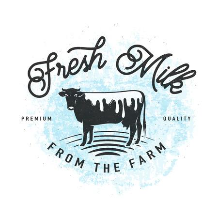 Illustration vectorielle de lait frais à l'arrière-plan de la ferme Banque d'images - 80124281