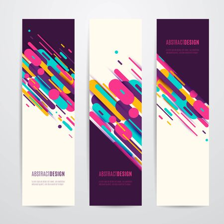 modish: Vector illustration of vertical geometry round, diagonal and line banner set
