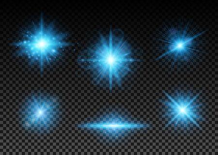 Vector illustration of blue lights set Illustration