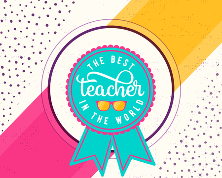 Ilustración del vector del día feliz de los profesores. Diseño de saludo para imprimir, tarjeta