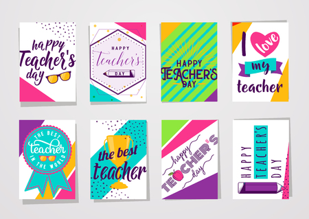 Vector illustration of color happy teachers day lettering typography card set Ilustração