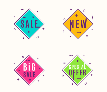 Vector illustration of trendy flat style geometric banners