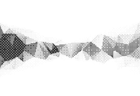Vector illustration of monochrome particle pattern moving shape