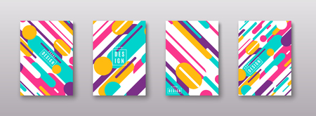 Vector illustration of cover poster pattern template set with dynamic shapes Illustration