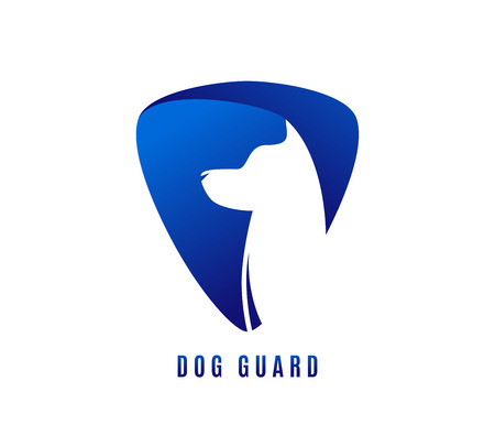 Vector illustration of dog guard with doggy head in negative blue space Illustration