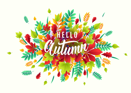 Vector illustration of fashionable autumn background with falling leaves. Ilustrace
