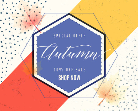Vector illustration of fashion dynamic autumn sale poster