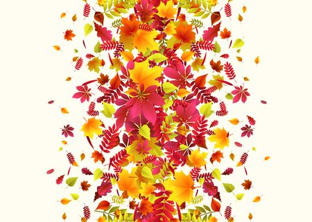Vector illustration of autumn border background with falling leaves