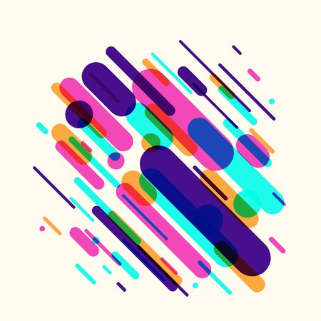 Vector illustration of dynamic composition made of various rounded shapes