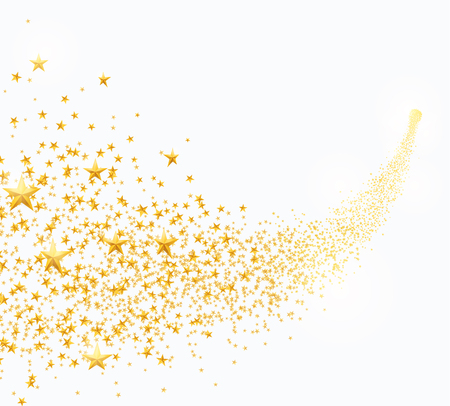 Vector illustration of abstract falling golden stars, dust