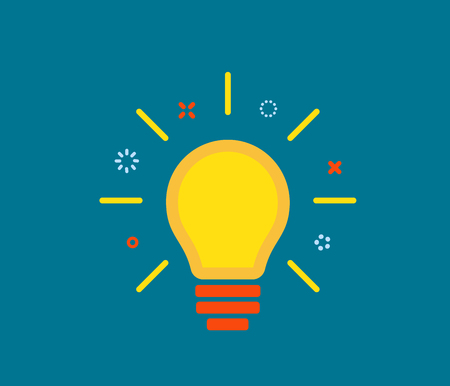 Creative idea with light lamp bulb, line rays, design element on dark background