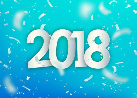 2018 happy new year. Silver confetti, tiny paper pieces on light blue background