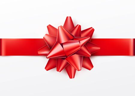 Red gift bow with horizontal ribbon. Isolated on white background. Vector illustration