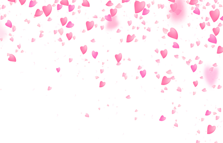 Valentines day border background. Falling from above romantic pink love hearts