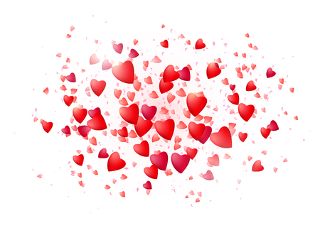 Realistic hearts isolated in the middle white background. Red love particles. Valentine, women, mother day concept. Vector illustration