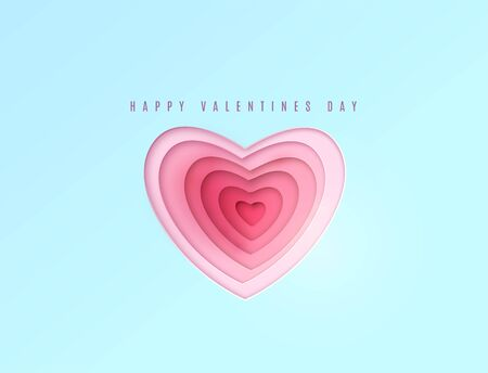 Heart paper cut, multi red and pink color layers. Happy valentines day greeting Illustration