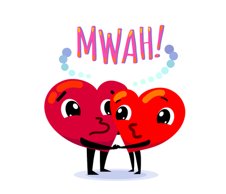 Couple in love. Two funny cartoon hearts kisses each other, holding their hands  イラスト・ベクター素材