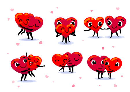 Love couple set. Scenes with two funny cute flat cartoon hearts Illustration