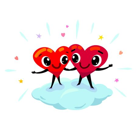 Couple in love idea. Two funny cartoon hearts smile each other, holding their hands, stand on cloud surrounded by design elements in the air.