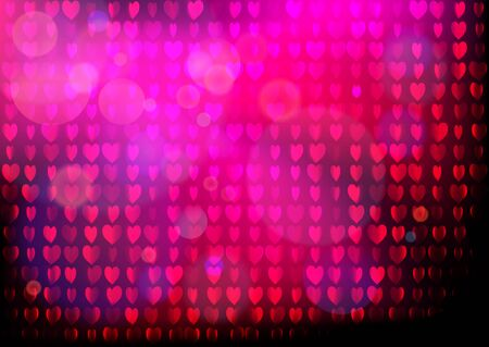 Neon heart background. Disco party purple pink pattern. Valentines day concept.