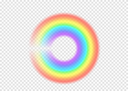 Rainbow round with limpid section edge isolated on transparent background