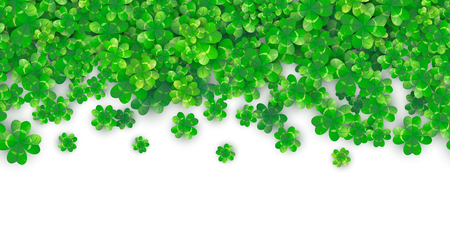 Patricks Day seamless background with four green clover heap with realistic shadows. 3d motion effect. Vector illustration