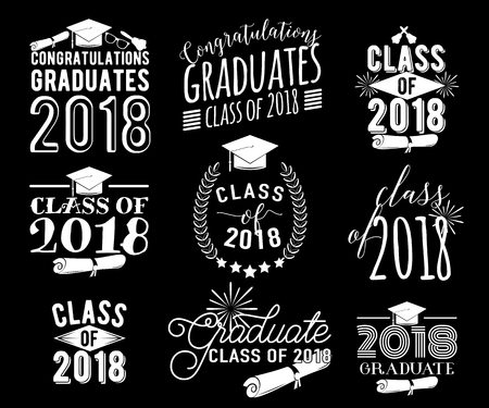 Graduation wishes overlays labels set. Monochrome graduate class of 2018 badges
