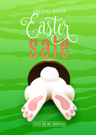 Easter sale poster with Easter bunny ass, foot, tail in the hole on green background. Illustration
