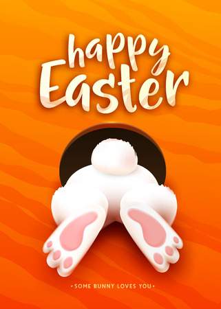 Happy Easter greeting card with funny Easter bunny Vettoriali