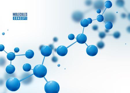 Molécula de fondo. Átomos Estructura molecular con partículas azules conectadas.