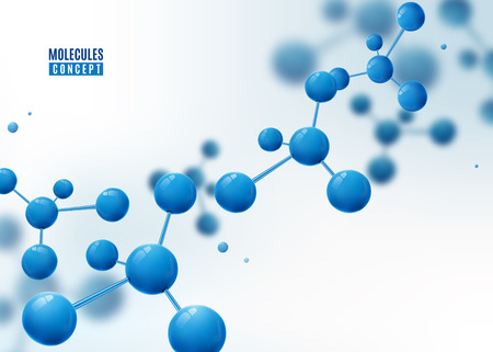Molecule background. Atoms. Molecular structure with blue connected particles.