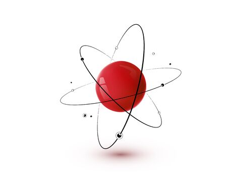 Red atom with core, orbits and electrons isolated on white background.
