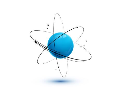 Atom with core, orbits and electrons isolated on white background.