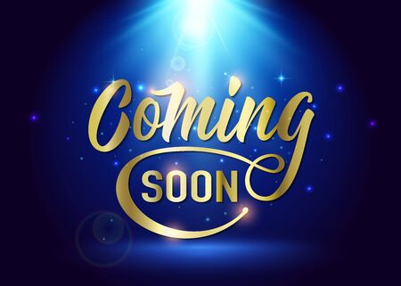Coming soon sign. Promotion announcement banner with gold text