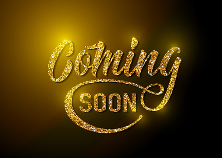 Coming soon sign isolated on white background with explosion burst rays