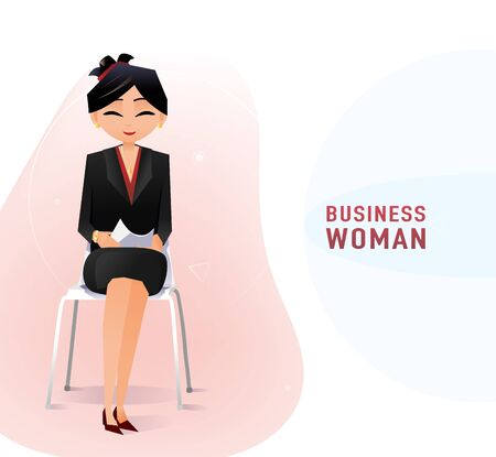 Modern Chinese business woman in the office sitting on the chair