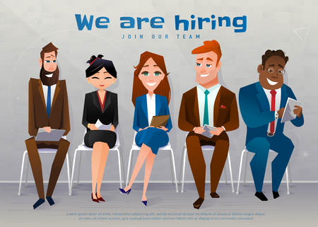 Human resources interview recruitment job concept. We are hiring text Stock Illustratie