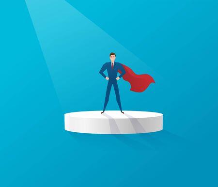 Superhero businessman standing on a platform elevation illuminated by light