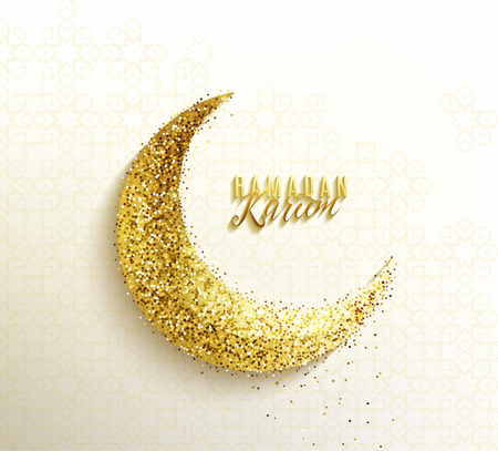 Ramadan greeting with glitter islamic crescent, golden paper moon