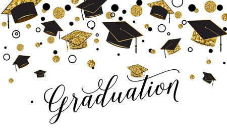 Palabra de graduación con gorro de posgrado, color negro y dorado, puntos brillantes sobre un fondo blanco