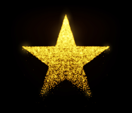 Star vector with glowing particles isolated on black background. Light golden star shape consist of glitter, glow, spark effect. Illustration