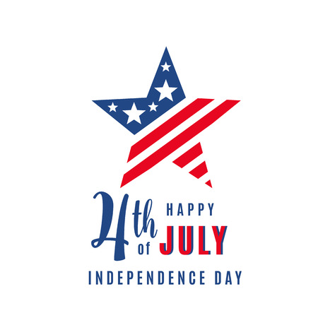 Bannière de vacances de célébration du 4 juillet, forme d'étoile avec texte de lettrage de typographie. Affiche de la fête de l'indépendance des États-Unis pour salutation, conception de concept de vente. Isolé sur blanc. Illustration vectorielle