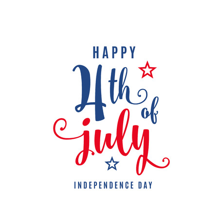 4th of July celebration holiday banner. USA Independence Day poster for greeting, sale concept design. Isolated on white. Vector illustration Çizim